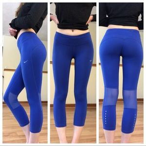 Nike Blue Mesh Cropped Leggings Size Extra Small